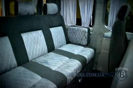 A sofa in a minibus, a sofa in a car, a car sofa