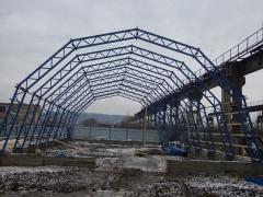 Frame of the Angara river under the key. The construction of warehouses