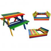 Kids 1 sandbox with cover and table with benches