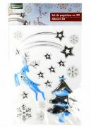 M19-570008, Christmas stickers set 3D universal silver