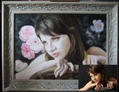 """Striking beauty portrait oil painting!"""